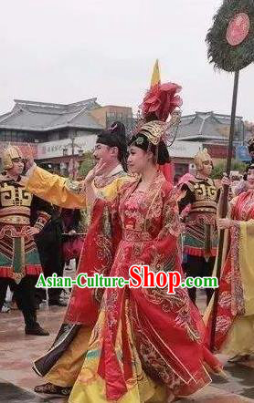 Chinese The Dream of Datang Tang Dynasty Consort Yang and Xuan Emperor Stage Show Costumes for Women for Men