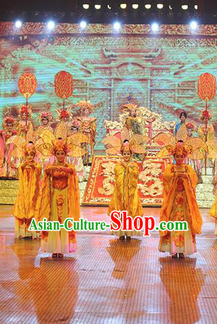 Chinese The Romantic Show of Songcheng Imperial Consort Dance Dress Stage Performance Goddess Costume and Headpiece for Women
