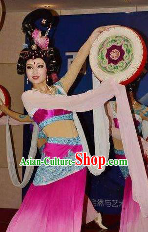 Chinese The Long Regret Tang Dynasty Court Dance Rosy Dress Stage Performance Costume for Women