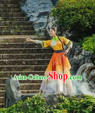 Chinese Love Song of Lijiang Classical Dance Orange Dress Stage Performance Ethnic Costume for Women