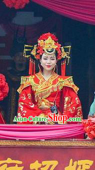 Chinese Love Song of Lijiang Bride Classical Dance Red Dress Stage Performance Ethnic Costume for Women