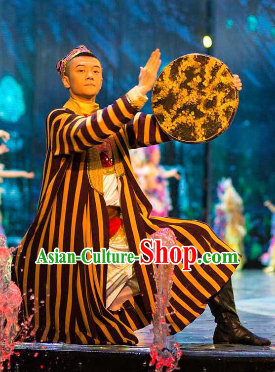 Chinese Back to the Silk Road Uyghur Nationality Ethnic Dance Stage Performance Costume for Men