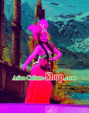 Chinese Back to the Silk Road Kazak Nationality Dance Red Dress Stage Performance Ethnic Costume for Women