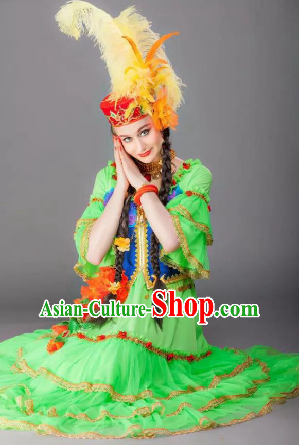 Chinese Back to the Silk Road Kazak Nationality Folk Dance Green Dress Stage Performance Ethnic Costume for Women