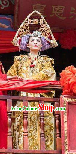 Chinese Love Song of Lijiang Bride Classical Dance Golden Dress Stage Performance Ethnic Costume for Women
