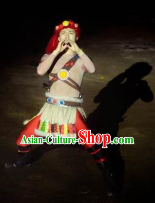 Chinese Love Song of Lijiang Ancient Ethnic Stage Performance Dance Costume for Men