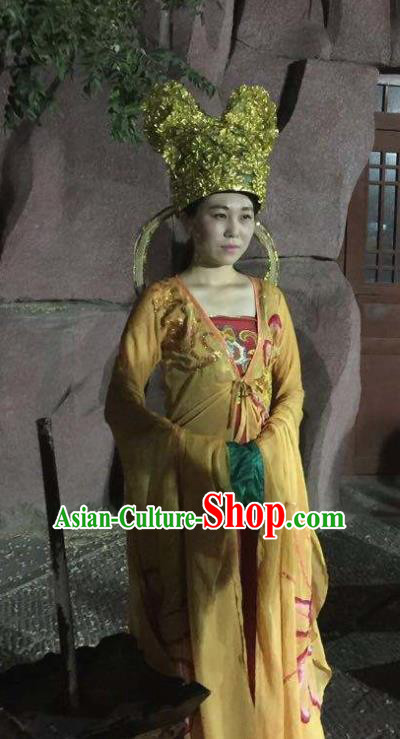 Chinese The Dream of Dongjing Song Dynasty Court Lady Dance Yellow Dress Stage Performance Costume and Hat for Women