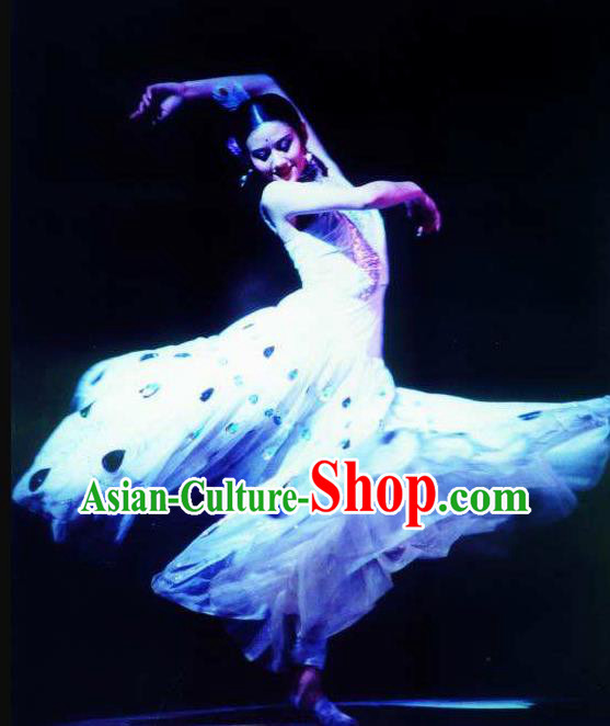 Chinese Dynamic Yunnan Peacock Dance White Dress Stage Performance Ethnic Costume for Women