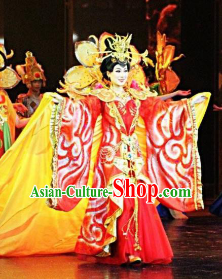 Chinese The Romantic Show of Jiuzhai Court Concubine Dance Dress Stage Performance Costume and Headpiece for Women