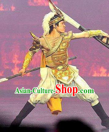Chinese The Romantic Show of Jiuzhai General Body Armor Stage Performance Dance Costume for Men