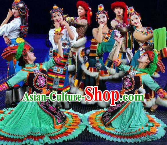 Chinese The Romantic Show of Jiuzhai Yi Nationality Dance Green Dress Stage Performance Costume and Headpiece for Women