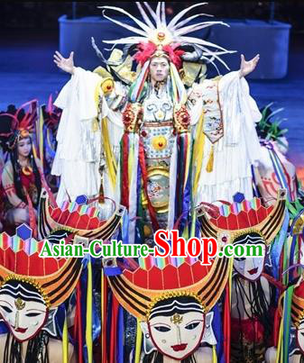 Chinese The Romantic Show of Jiuzhai Primitive Tribe Dance Stage Performance Costume for Men