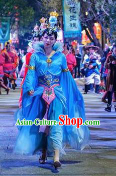 Chinese The Romantic Show of Mingyue Classical Dance Blue Dress Stage Performance Costume for Women