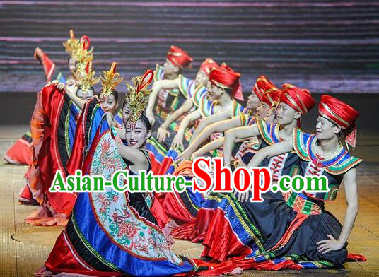 Chinese The Romantic Show of Mingyue Stage Show Yi Nationality Dance Costumes for Women for Men