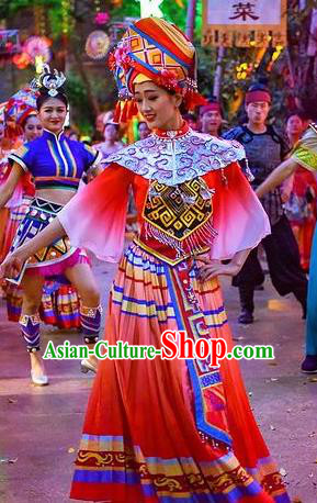 Chinese The Romantic Show of Guilin Zhuang Nationality Bride Red Dress Stage Performance Dance Costume for Women