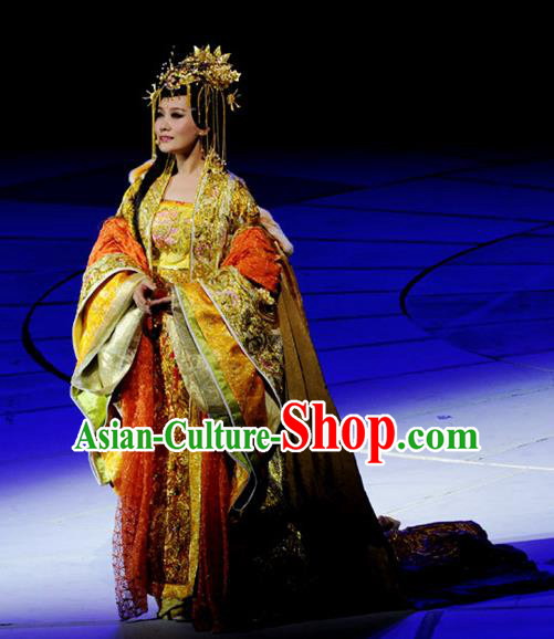Chinese Princess Wencheng Drama Dance Dress Stage Performance Costume and Headpiece for Women