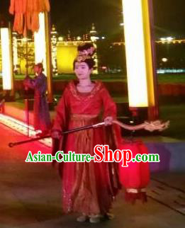 Chinese Chang An Impression Ancient Court Lady Dance Red Dress Stage Performance Costume and Headpiece for Women