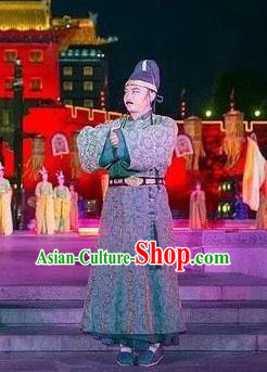 Chinese Chang An Impression Ancient Tang Dynasty Minister Stage Performance Green Costume for Men