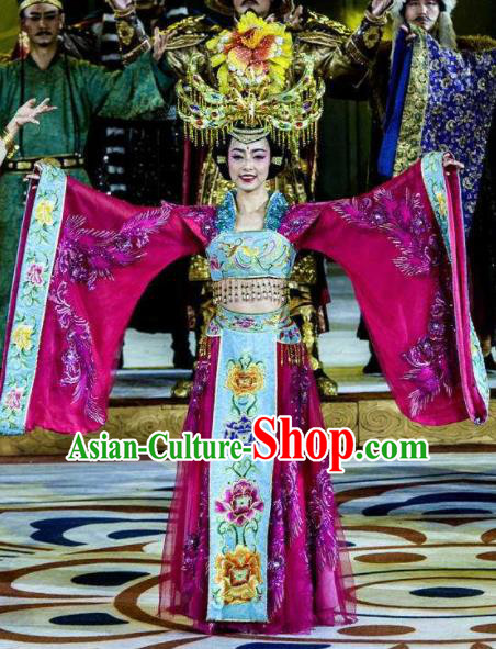 Chinese Chang An Impression Ancient Court Empress Dance Rosy Dress Stage Performance Costume and Headpiece for Women
