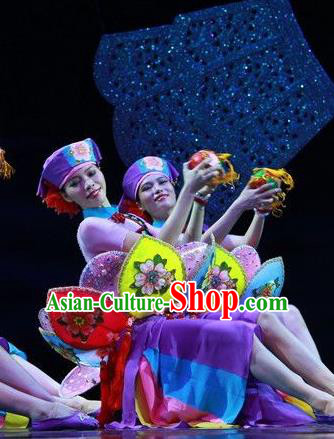 Chinese The Ship Legend of Huashan Zhuang Nationality Dance Purple Dress Stage Performance Costume and Headpiece for Women