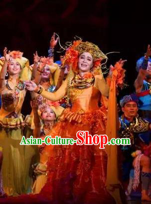 Chinese The Ship Legend of Huashan Zhuang Nationality Dance Red Dress Stage Performance Costume and Headpiece for Women