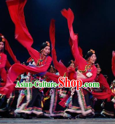 Chinese Impression Tibetan Zang Nationality Red Water Sleeve Dance Dress Stage Performance Costume and Headpiece for Women