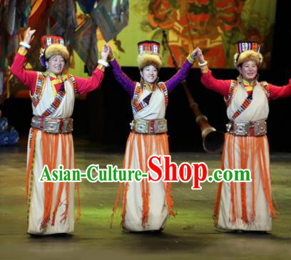 Chinese Impression Tibetan Zang Nationality Dance White Dress Stage Performance Costume and Headpiece for Women