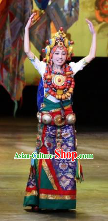 Chinese Impression Tibetan Zang Nationality Dance Royalblue Dress Stage Performance Costume and Headpiece for Women