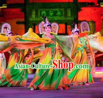 Chinese Chang An Impression Ancient Tang Dynasty Classical Dance Green Dress Stage Performance Costume and Headpiece for Women