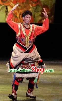Chinese Impression Tibetan Zang Nationality Red Clothing Stage Performance Dance Costume for Men