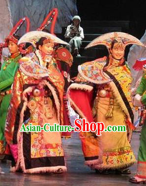 Chinese Impression Tibetan Zang Nationality Dance Robe Stage Performance Costume and Headpiece for Women