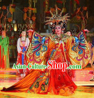 Chinese Chang An Impression Ancient Tang Dynasty Empress Dance Red Dress Stage Performance Costume and Headpiece for Women