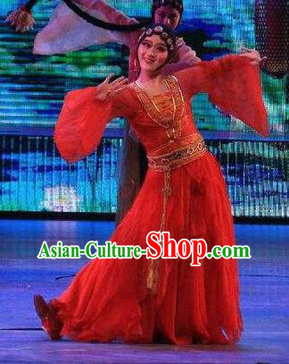 Chinese Back to Song Dynasty Classical Dance Red Dress Stage Performance Costume for Women