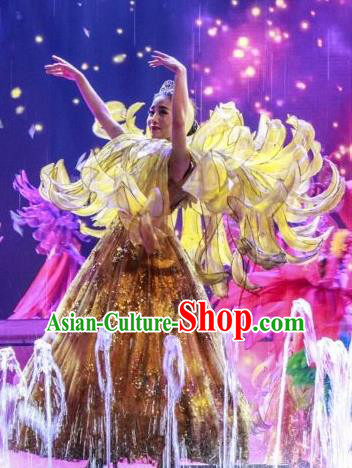 Chinese Back to Song Dynasty Chrysanthemum Dance Yellow Dress Stage Performance Costume for Women