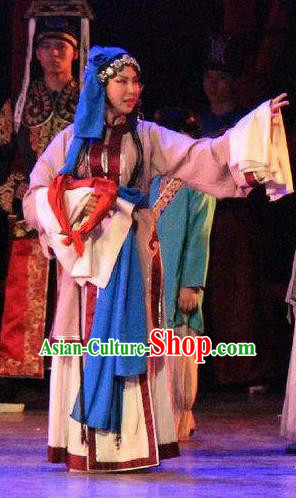 Chinese Back to Song Dynasty Civilian Dance Dress Peking Opera Qin Xianglian Stage Performance Costume and Headpiece for Women