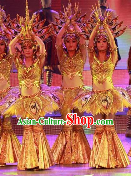 Chinese Back to Song Dynasty Ethnic Dance Yellow Dress Stage Performance Costume and Headpiece for Women