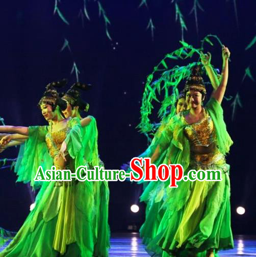 Chinese Back to Song Dynasty Classical Dance Green Dress Stage Performance Costume and Headpiece for Women
