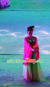 Chinese Back to Song Dynasty Classical Lotus Dance Green Dress Stage Performance Costume and Headpiece for Women