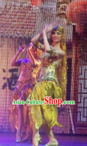 Chinese Back to Song Dynasty Indian Dance Yellow Dress Stage Performance Costume for Women