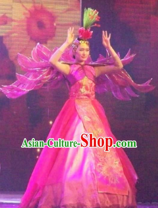 Chinese Back to Song Dynasty Classical Chrysanthemum Dance Rosy Dress Stage Performance Costume for Women