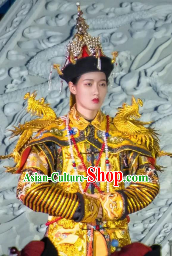 Chinese Peoformance In Panshan Mountain Qing Dynasty Queen Dress Stage Performance Costume and Headpiece for Women