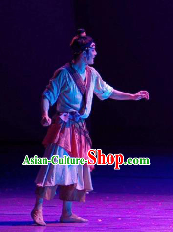 Chinese River Theatre The Peach Colony Civilian Farmer Stage Performance Dance Costume for Men