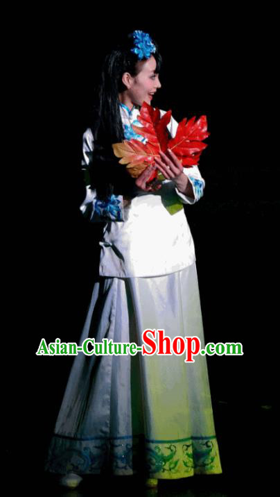 Chinese Dreaming In Hometown Classical Dance White Dress Stage Performance Costume and Headpiece for Women