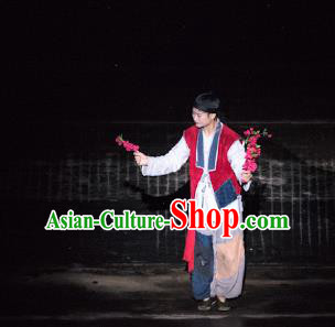 Chinese Dreaming In Hometown Wuyuan Civilian Stage Performance Dance Costume for Men