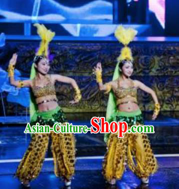 Chinese Magic Ganpo Impression Indian Dance Dress Stage Performance Costume and Headpiece for Women