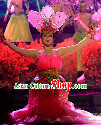 Chinese Magic Ganpo Impression Opening Dance Dress Stage Performance Costume and Headpiece for Women