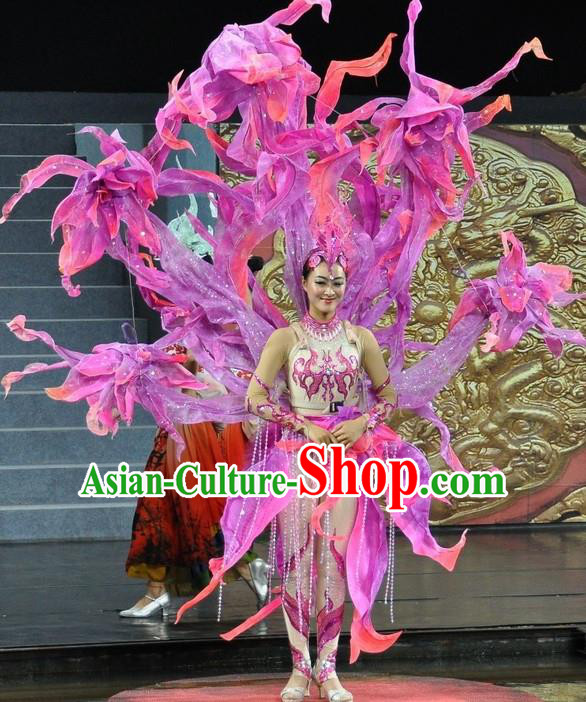 Chinese Jinxiu Shenzhou Classical Dance Ethnic Dance Lilac Dress Stage Performance Costume and Headpiece for Women