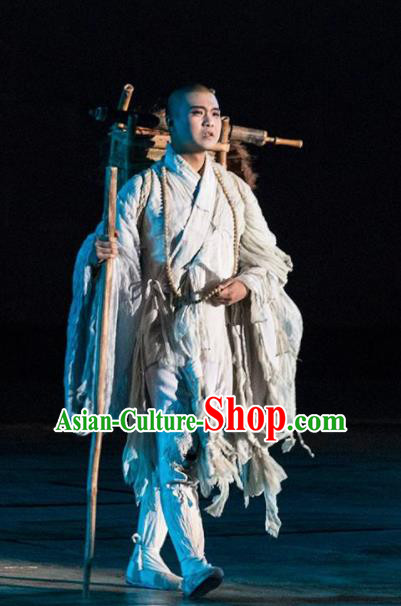 Chinese the Porcelain Tower Ceremony Tang Dynasty Monk Xuanzang Stage Performance Dance Costume for Men