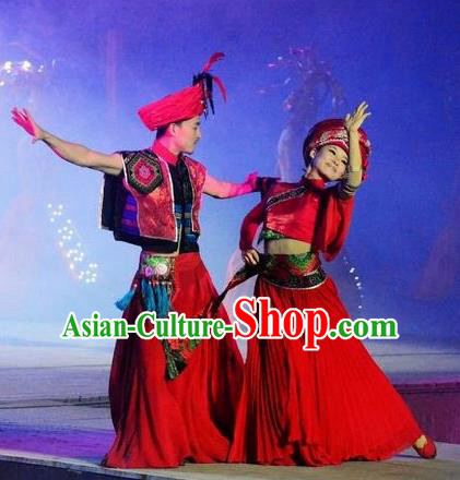 Chinese Dragon Boat Song Tujia Nationality Ethnic Wedding Stage Performance Dance Red Costumes for Women for Men