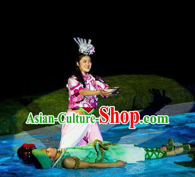 Chinese Dragon Boat Song Tujia Nationality Ethnic Stage Performance Dance Costumes for Women for Men